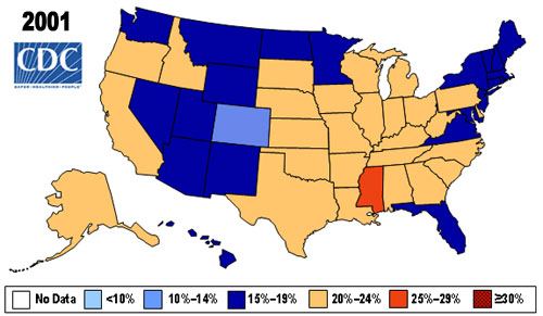 American Obesity Treatment Association Obesity In America - Obesity map us